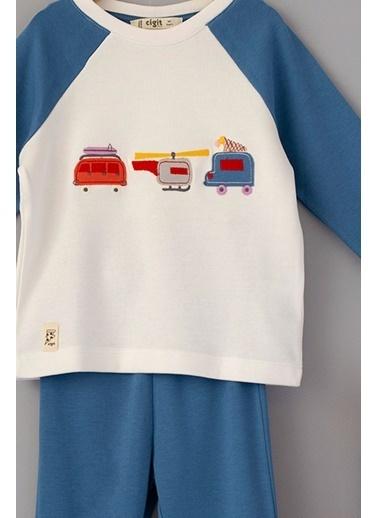 Cigit Cars Aplikeli Pijama Takımı Ekru